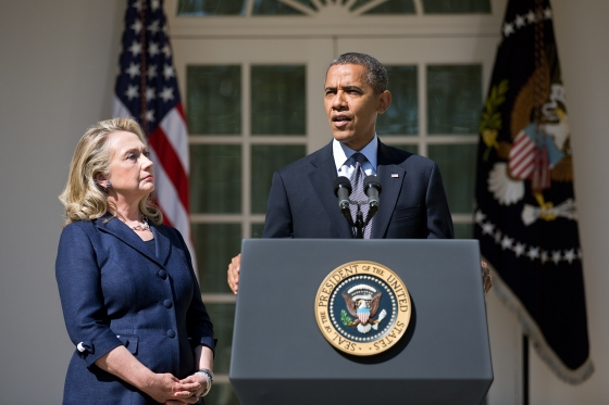 President Obama with Secretary Clinton at the 9/12/12 Rose Garden Press Briefing